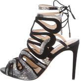 Alexandre Birman Suede & Snakeskin Caged Sandals