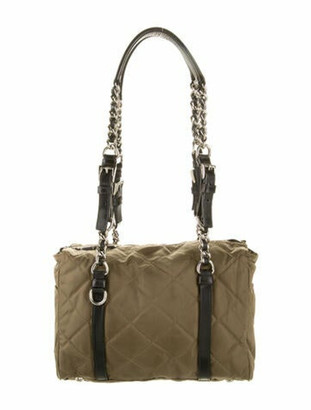 Prada Quilted Tessuto Chain-Link Bag Green