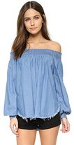 One Teaspoon Women's Chambray Texas Sugar Cold Shoulder Top