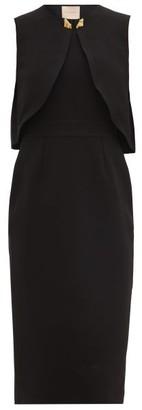 Roksanda Tresa Caped Crepe Shift Dress - Womens - Black