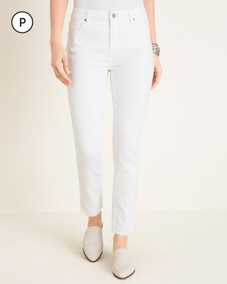 So Slimming Petite No-Stain White Embroidered Girlfriend Ankle Jeans