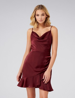 Forever New Fifi Cowl Neck Wrap Frill Mini Dress - Deep Burgundy - 4