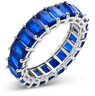 Sterling Forever Sterling Silver Emerald Cut CZ Eternity Band - Sapphire