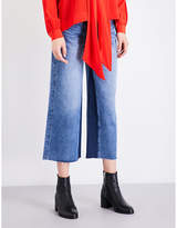 Mo&Co. Panel-detail wide-leg high-rise cropped jeans