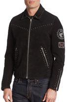 The Kooples Studded Suede Biker Jacket