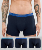 Emporio Armani 3 Pack Trunks In Navy With Contrast Logo