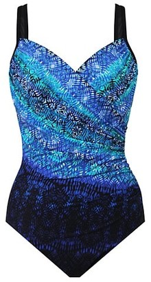 Miraclesuit Swim, Plus Size Seraphina Printed Wrap One-Piece Swimsuit