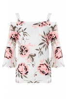 Quiz Cream And Coral Floral Print Cold Shoulder Top