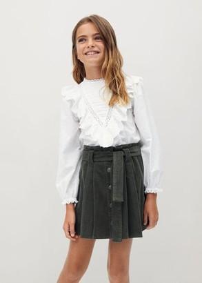 MANGO Ruffled cotton shirt