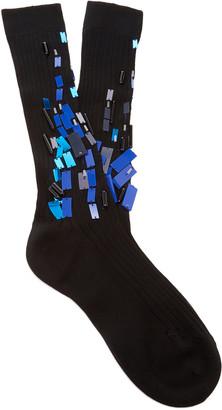 Prada Lisle Embroidered Cotton Socks