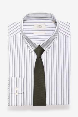 Mens White/Grey Stripe Slim Fit Shirt And Olive Tie Set - Grey
