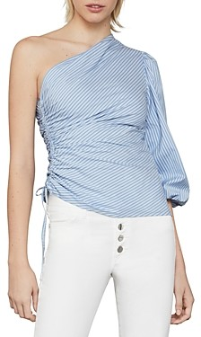 BCBGMAXAZRIA Striped Ruched One-Shoulder Top