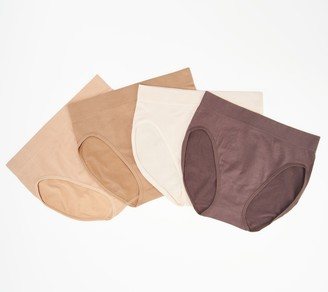 Breezies Set of 4 Seamless Cotton Hi-Cut Brief Panties
