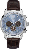 GUESS Mens Classic Sport Steel Chronograph and Leather Strap Watch