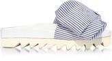 Joshua Sanders Skinny Stripes Bow Cotton Slides Sandals