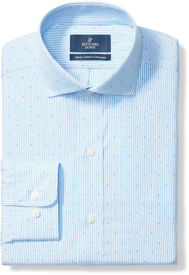 Buttoned Down Men's Classic Fit Cutaway Textured Stripe Non-Iron Dress Shirt, Purple, 15.5 32