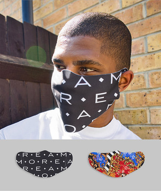 ASOS DESIGN 2 pack face covering in baroque and slogan prints