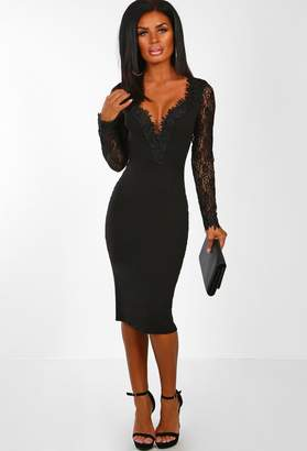 Pink Boutique Lace All Night Black Lace Sleeve Bodycon Midi Dress
