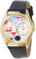 Whimsical Watches Kids' C0820002 Classic Gold Hockey Black Leather And Goldtone Watch