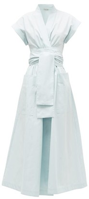 Three Graces London Clarissa Cotton-poplin Wrap Midi Dress - Womens - Light Blue