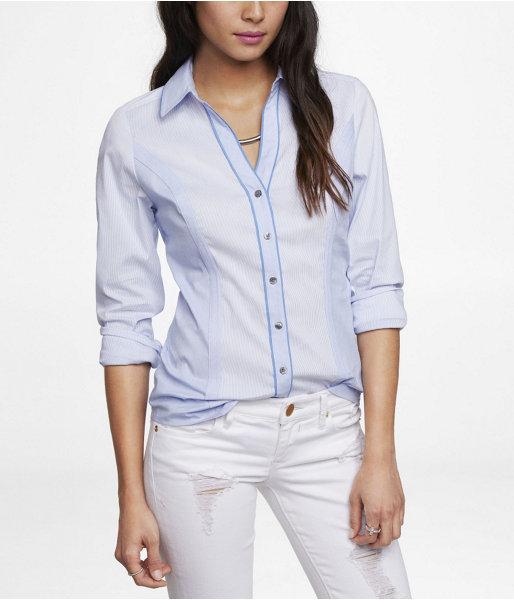 Express Long Sleeve Mixed Pinstripe Essential Shirt