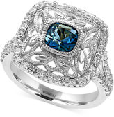 Effy London Blue Topaz (1-1/4 ct. t.w.) and White Sapphire (3/4 ct. t.w.) Statement Ring in Sterling Silver