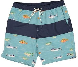 Salty Crew Fish Stamp Elastic Boardshorts (Dusty Blue) Men's Swimwear