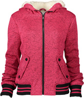 Urban Republic Heather Raspberry Faux Fur-accent Hooded Varsity Jacket