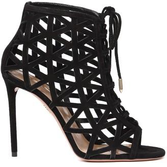 Aquazzura Black Suede Graphiste Sandals
