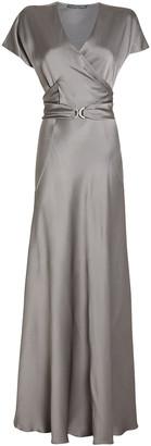 Alberta Ferretti Belted Satin Wrap Gown