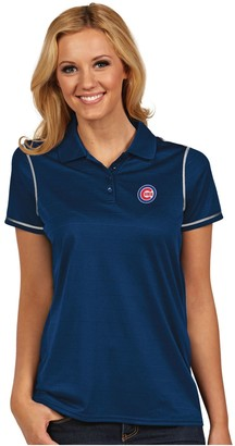 Antigua Women's Chicago Cubs Icon Desert-Dry Tonal-Striped Performance Polo