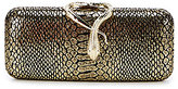 Kate Landry Metallic Snake-Embossed Clasp Clutch
