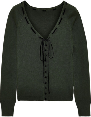 ADEAM Velvet-trimmed Silk Cardigan