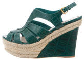 Miu Miu Alligator Platform Wedge Sandals