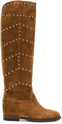 Via Roma 15 studded knee hig boots