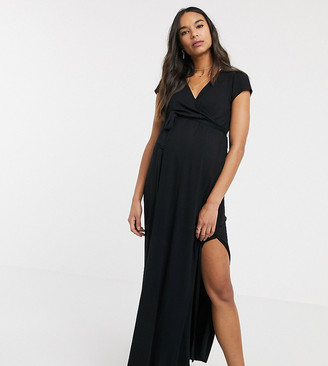 ASOS DESIGN Maternity tie waist wrap front maxi dress in black