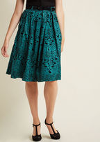Hell Bunny Storybook Shadows Midi Skirt in Teal in L