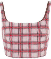 Prada Cropped Checked Jacquard-knit Top - Red
