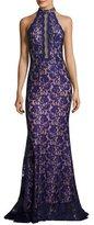 Jovani Embellished Lace Halter Gown, Royal