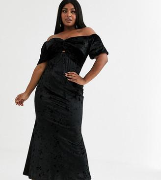 Flounce London Plus velvet maxi dress with fishtail in black