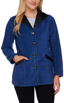 Bob Mackie Blue Faux Leather-Trim Jacket - Plus Too