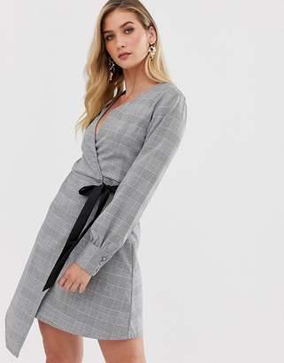 UNIQUE21 check wrap mini dress-Grey