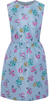 RED Valentino Gathered Floral-print Faille Mini Dress