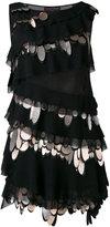 Talbot Runhof metallic embellishment minidress - women - Silk/Polyamide/Polyester/Metallized Polyester - 32