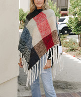 Leto Collection Women's Ponchos RED/BLUE - Red & Blue Color Block Tassel Poncho - Women