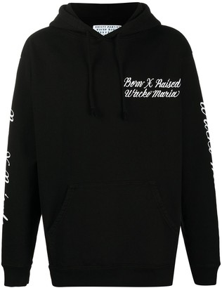 Bornxraised x Wacko Maria logo-embroidered loose-fit hoodie