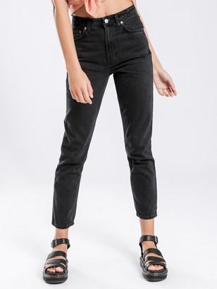 Nudie Jeans Breezy Britt Tapered Jeans in Black Worn