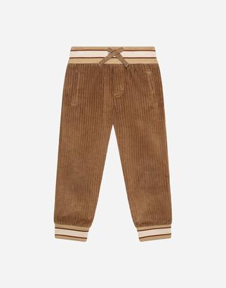 Dolce & Gabbana Velvet Jogging Pants With Patch