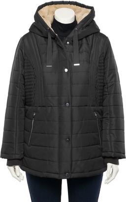Details Plus Size Fleece Hood Quilted Puffer Coat