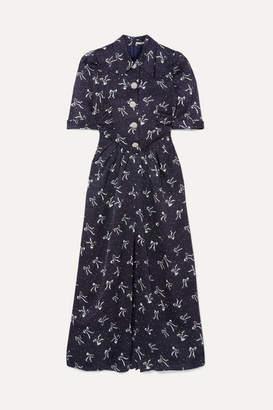 Alessandra Rich Button-embellished Printed Silk-jacquard Maxi Dress - Blue